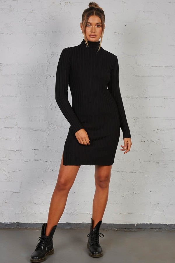 BLINDED RIBBED DRESS - BLACK