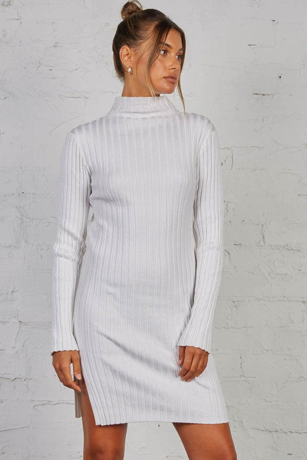 BLINDED RIBBED DRESS - WHITE