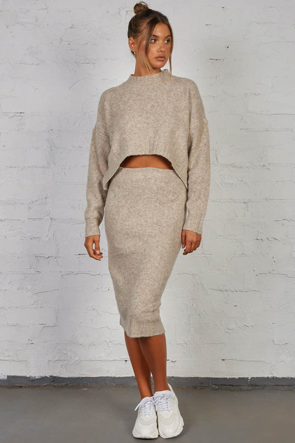 LATE LUNCH KNIT SKIRT - STONE