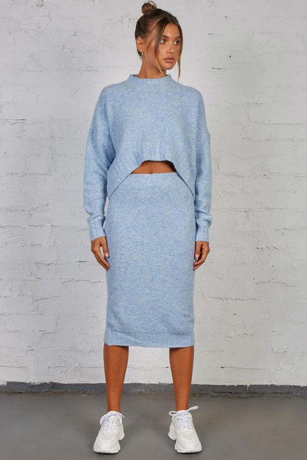 LATE LUNCH KNIT SKIRT - BLUE
