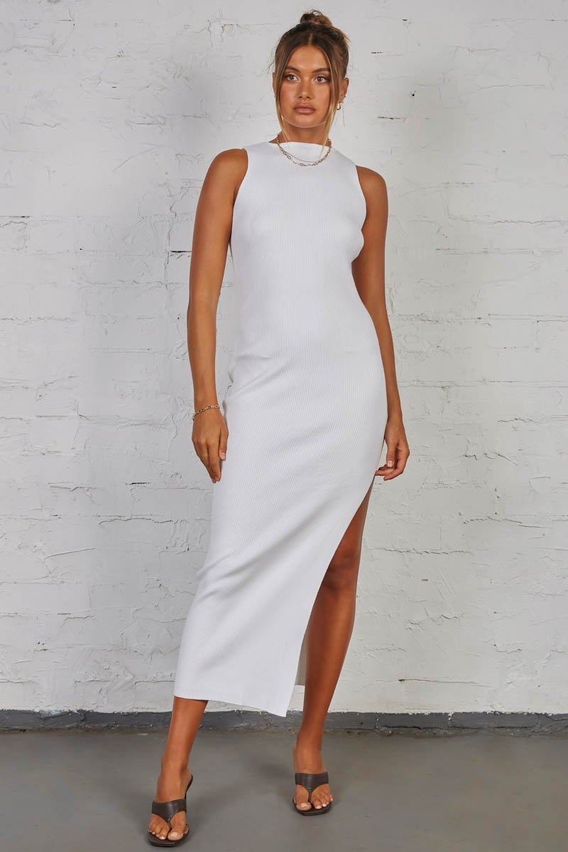 MISH RIBBED MAXI DRESS - WHITE