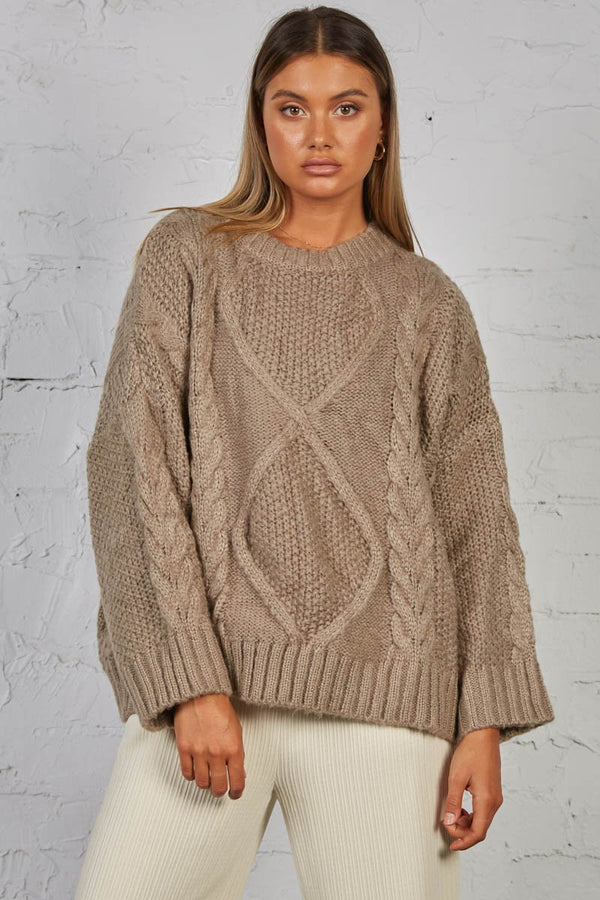 CARRIE CABLE KNIT - TAUPE