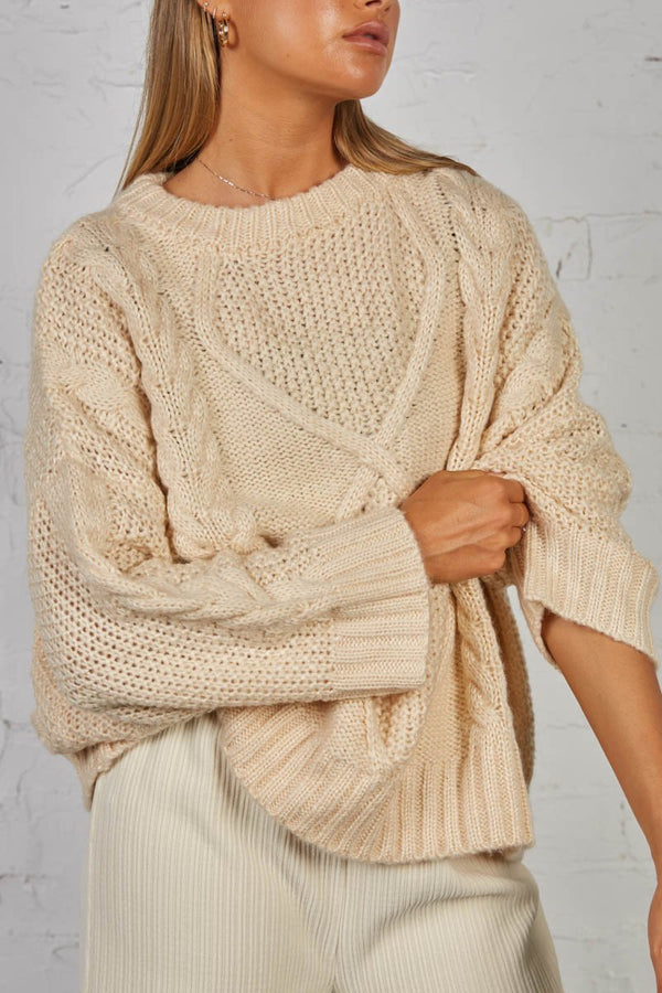CARRIE CABLE KNIT - OATMEAL