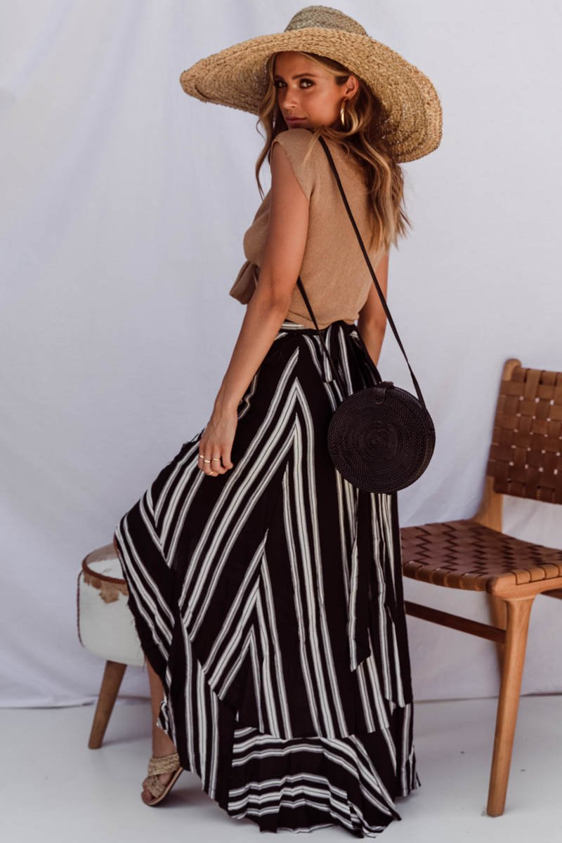 SOLAR WRAP SKIRT - BLACK & WHITE STRIPE