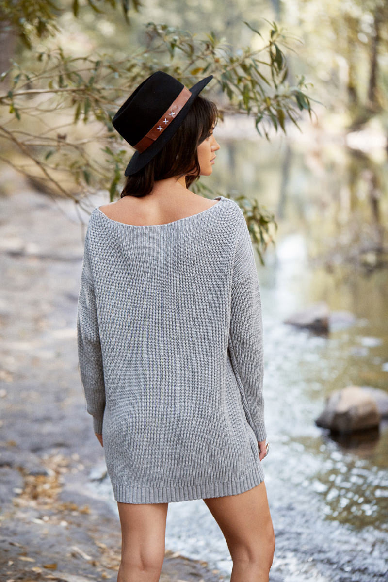 SUNDAY MORNINGS KNIT DRESS GREY