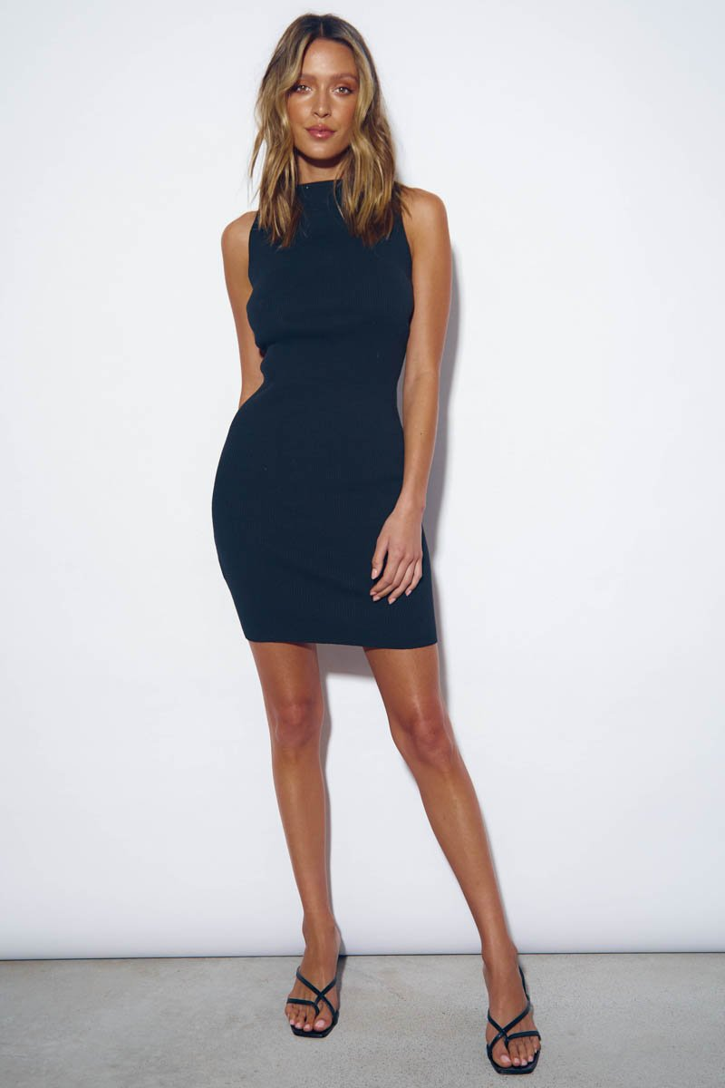 MISH RIBBED MINI DRESS - BLACK