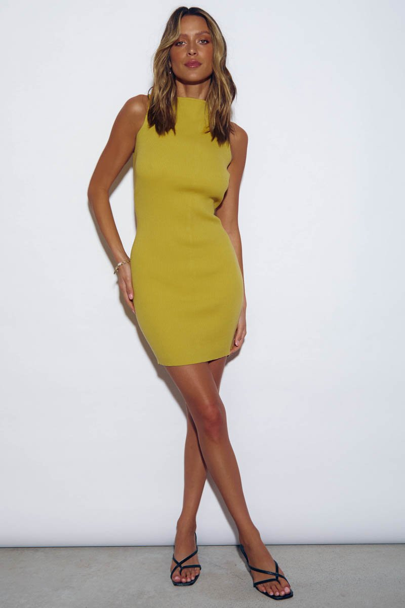 MISH RIBBED MINI DRESS - MARIGOLD- PRE ORDER