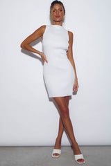 MISH RIBBED MINI DRESS - WHITE