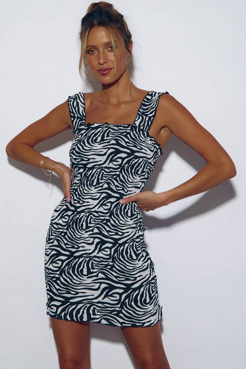 TINA MINI DRESS - ZEBRA PRINT