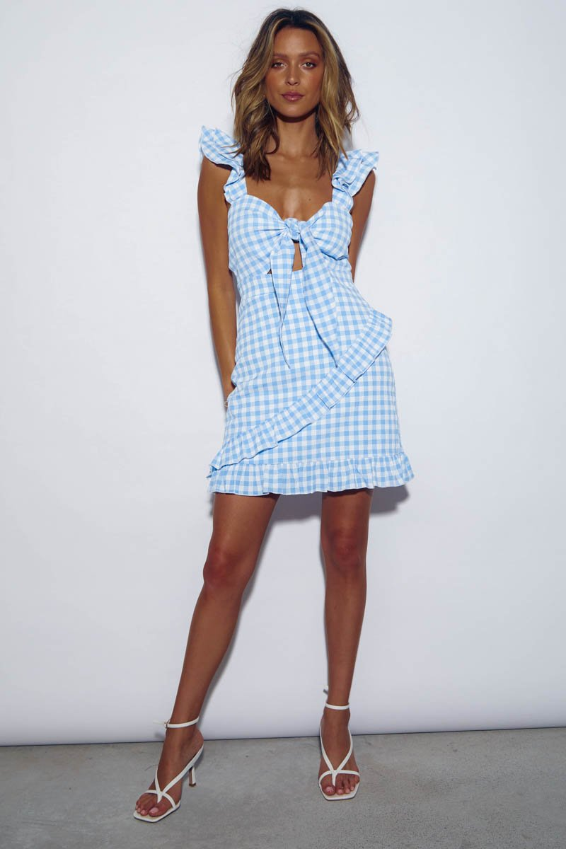 CROATIA DRESS - BLUE GINGHAM - PRE ORDER