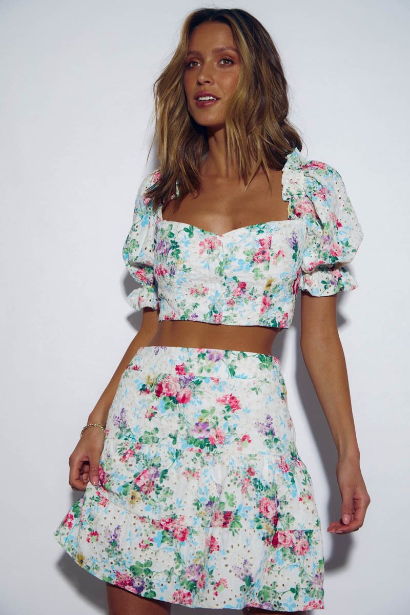BAHAMA TOP - WHITE FLORAL - PRE ORDER
