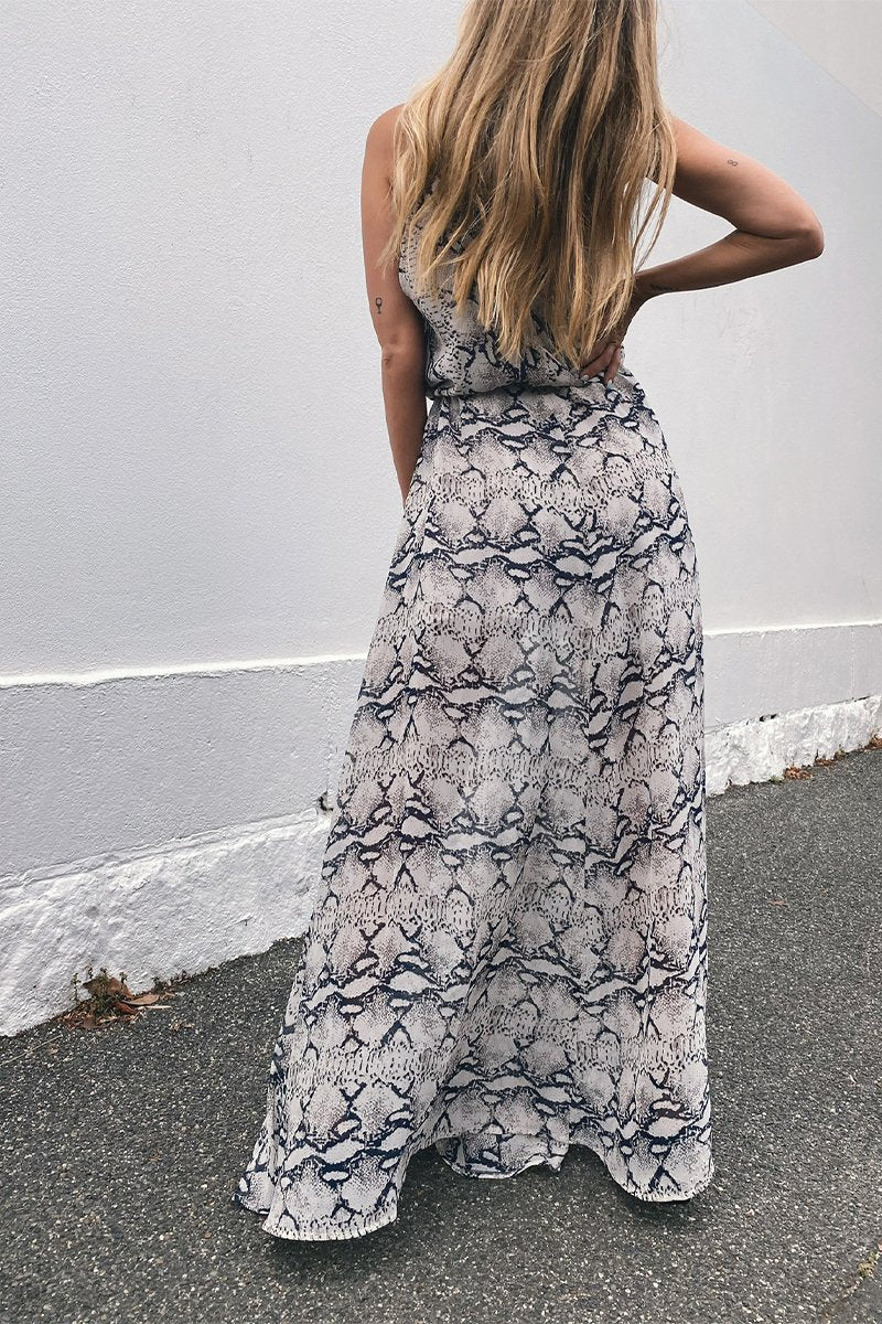 TAHYNA MAXI DRESS - GREY SNAKE
