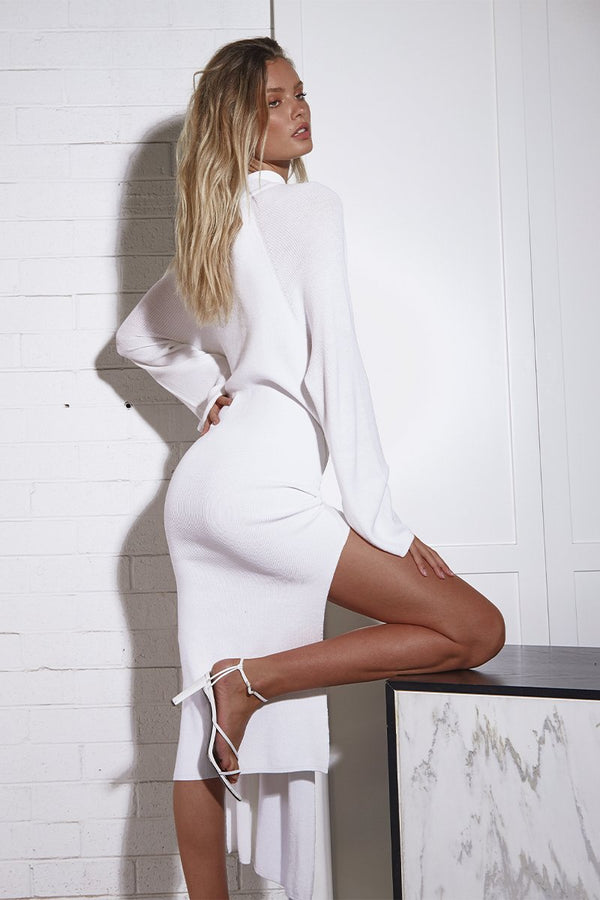 TIED UP KNIT DRESS - WHITE