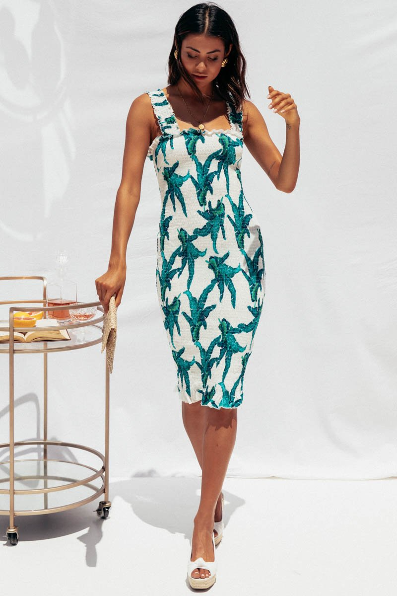 TINA MIDI DRESS - WHITE PRINT