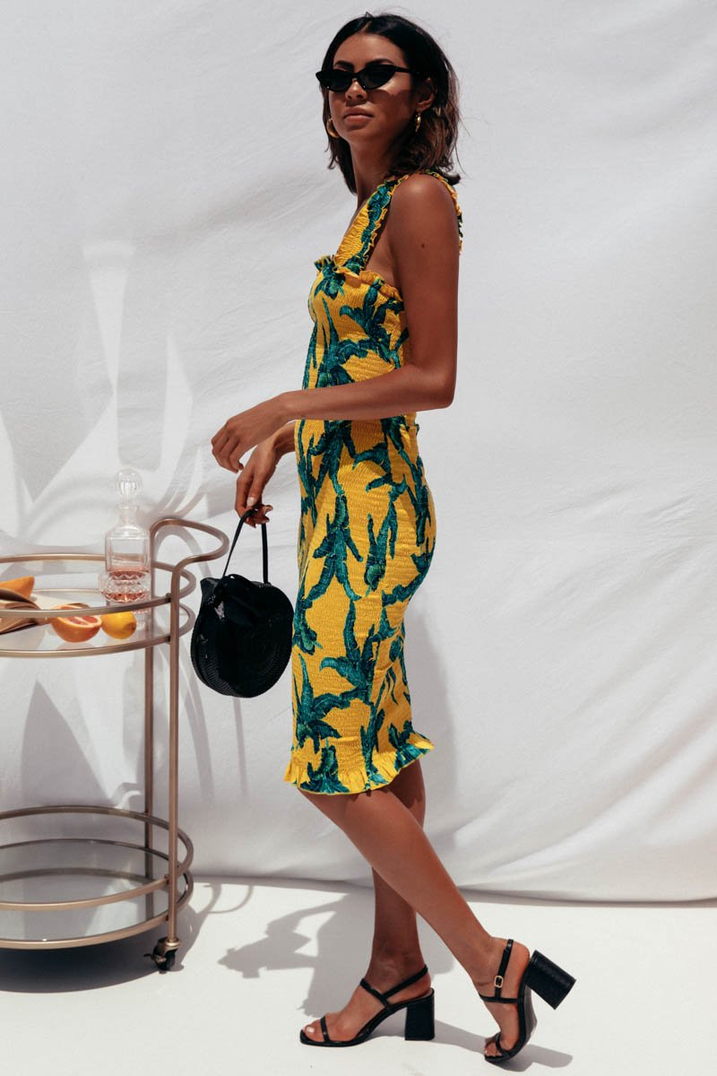 TINA MIDI DRESS - YELLOW PRINT