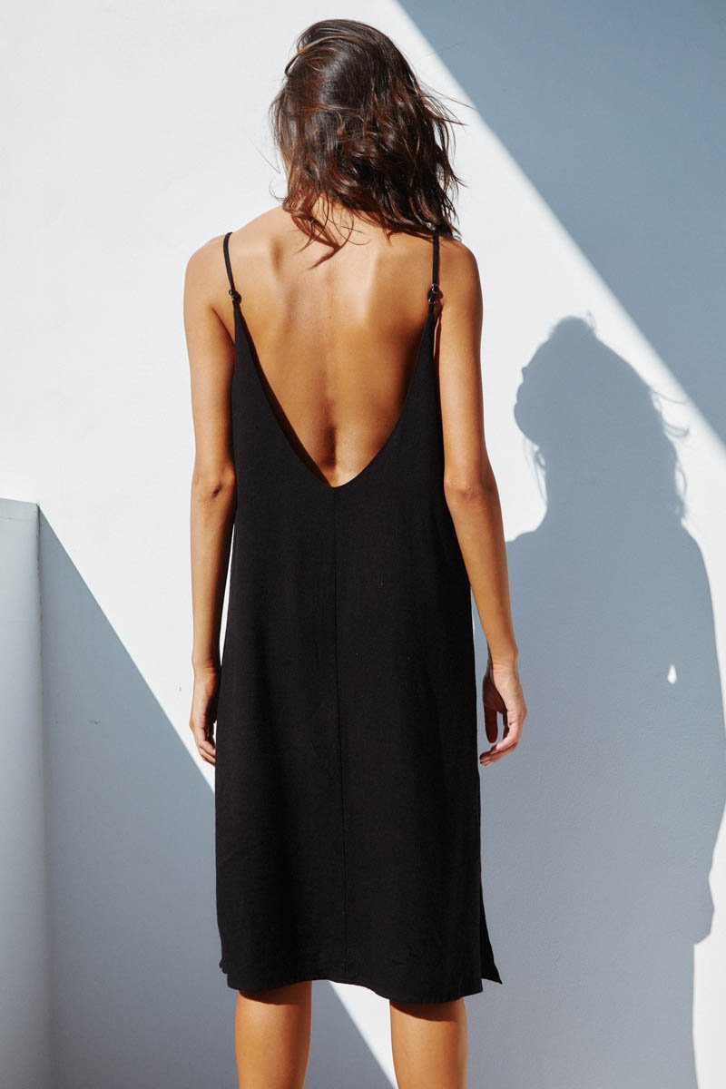 TUESDAY SLIP DRESS - BLACK