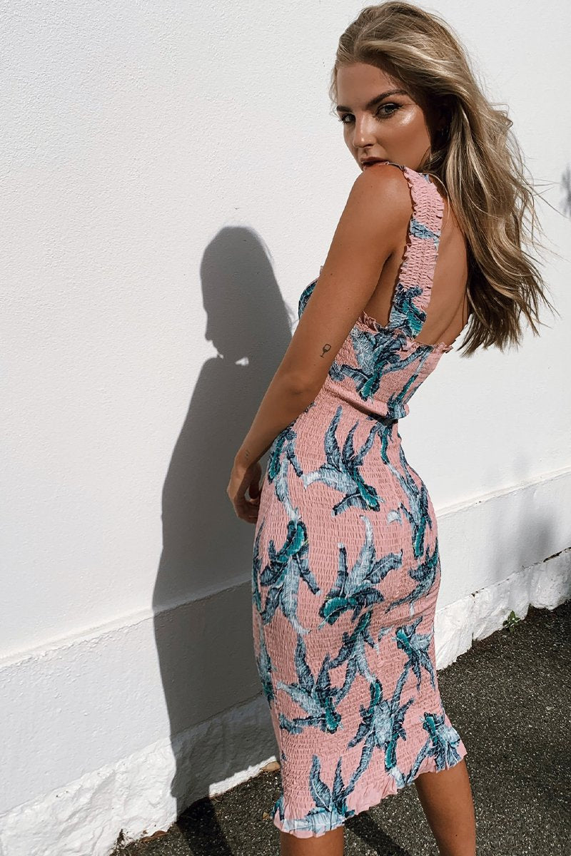 TINA MIDI DRESS PINK PRINT - PREORDER
