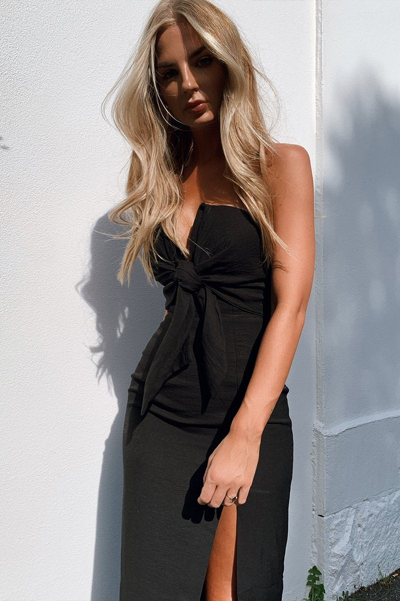 VILLA MIDI DRESS - BLACK