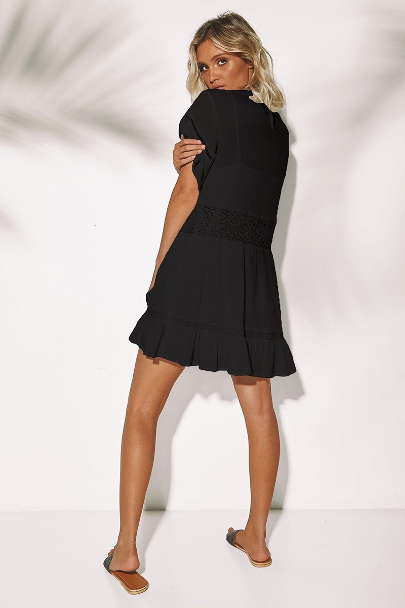 WING DRESS - BLACK