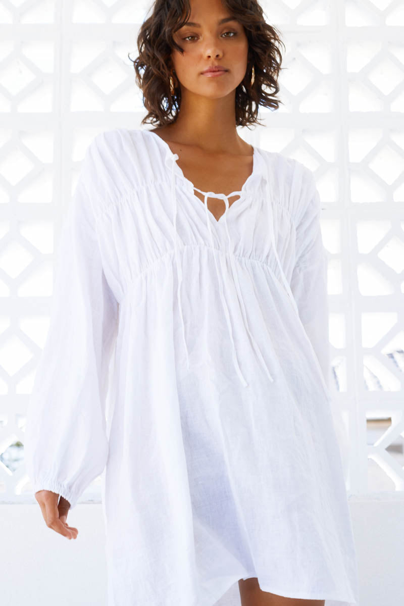 ARIES LINEN DRESS - WHITE - PRE ORDER