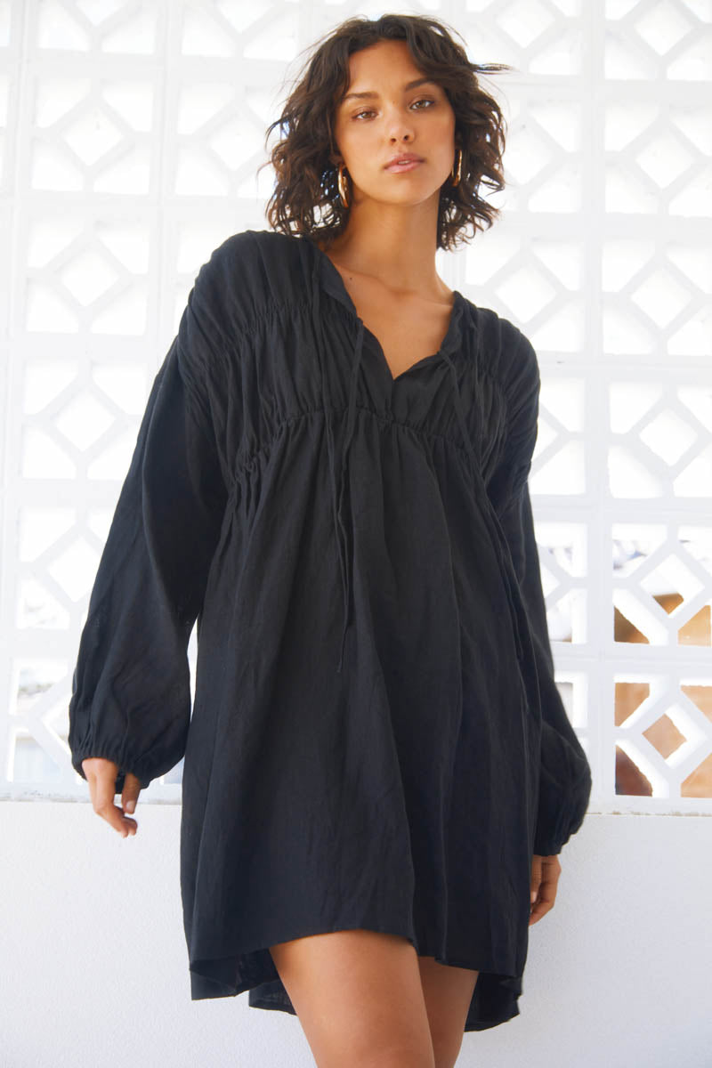 ARIES LINEN DRESS - BLACK - PRE ORDER
