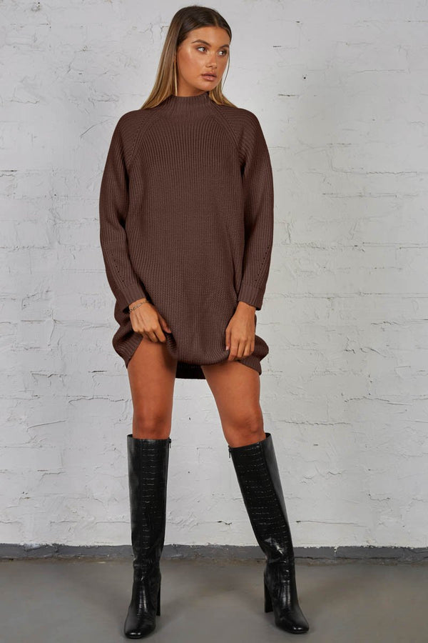 TIMING KNIT DRESS - CHOCOLATE