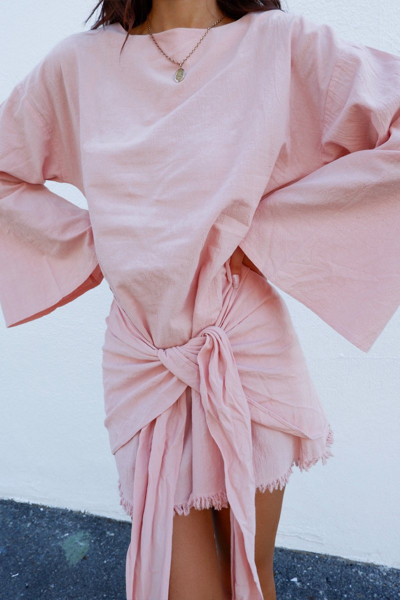HUA LINEN DRESS LONG SLEEVE - PINK