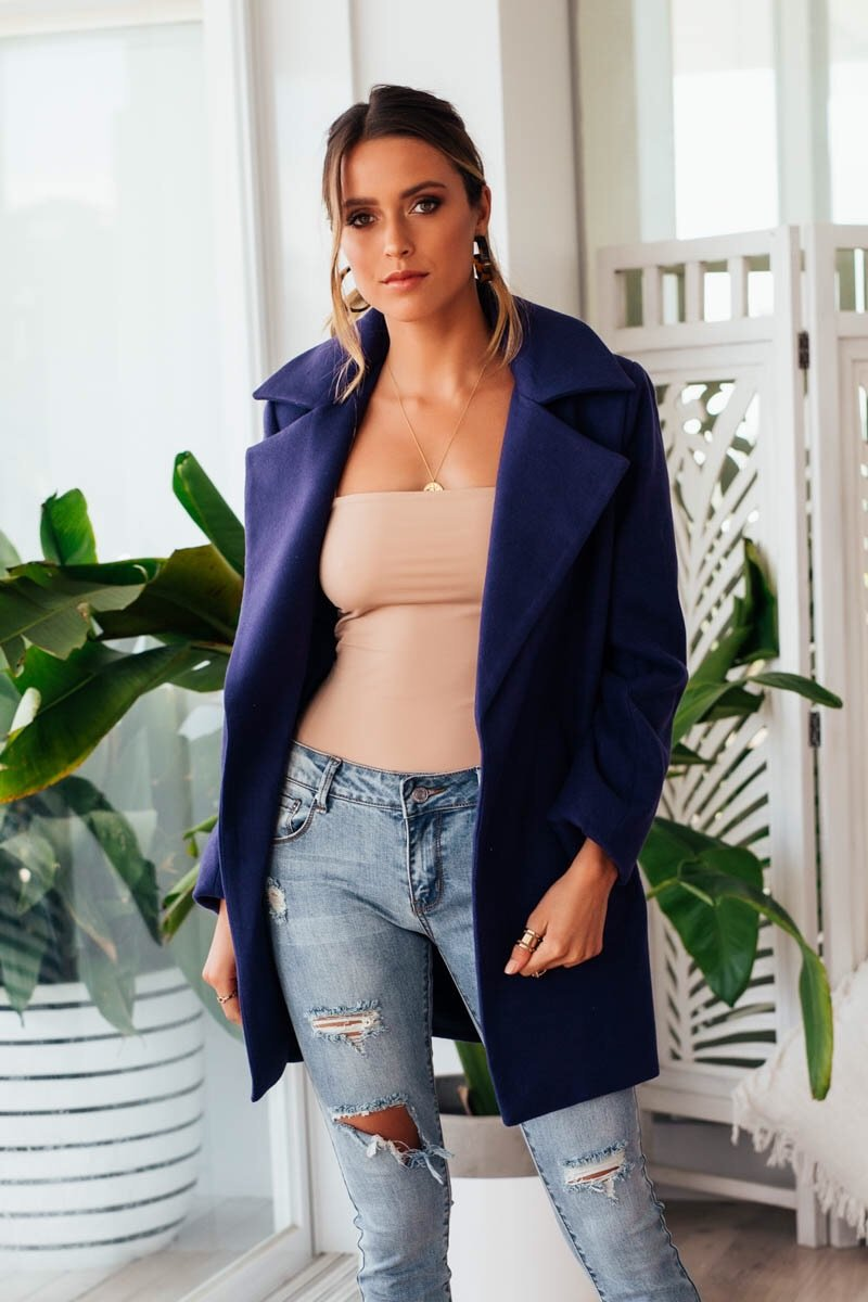 BROOKLYN COAT SHORT - NAVY