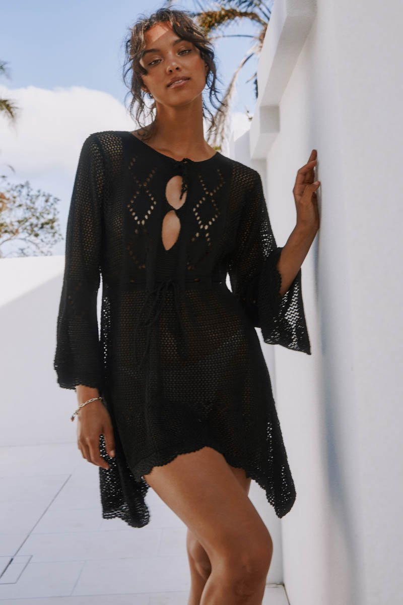 JADE CROCHET DRESS - BLACK