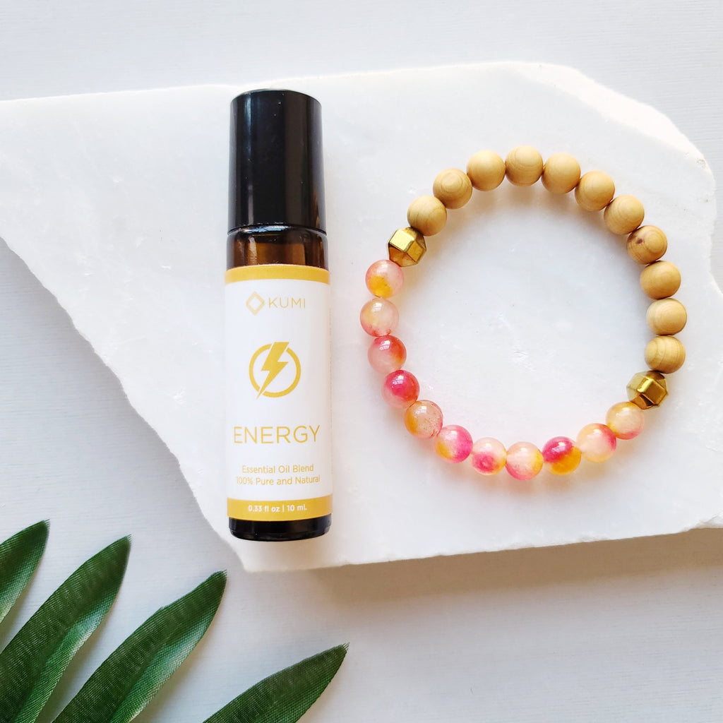 Red/Peach Jade & Energy Essential Oil Roll On Diffuser Bundle - Kumi Oils