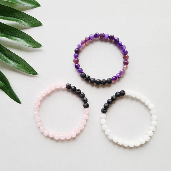 Pink, White, & Purple Diffuser Bracelet Bundle-Kumi Oils