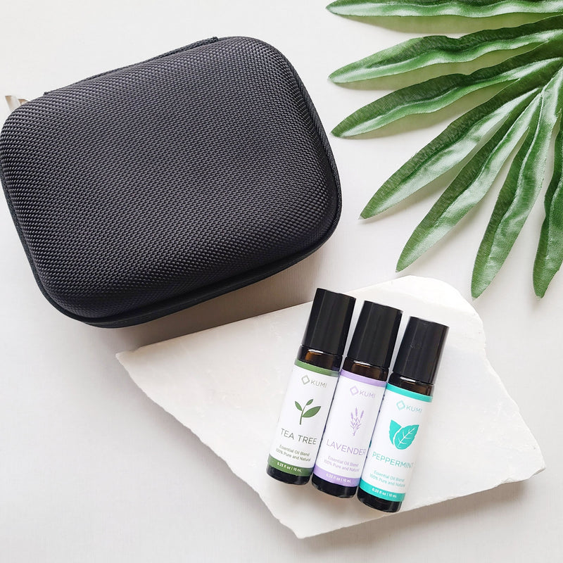 The Essentials - Essential Oil Roll On Trio and Case Bundle - Kumi Oils