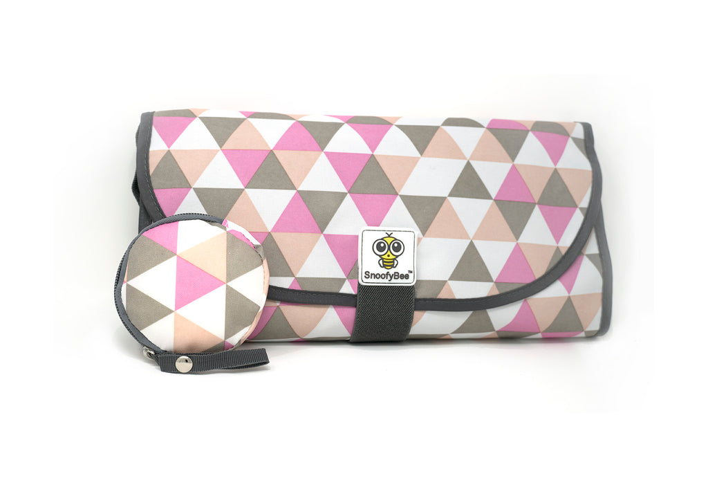 3-in-1 Clean Hands Changing Pad with Matching Pacifier Pod, Rose Triangle - SnoofyBee.com