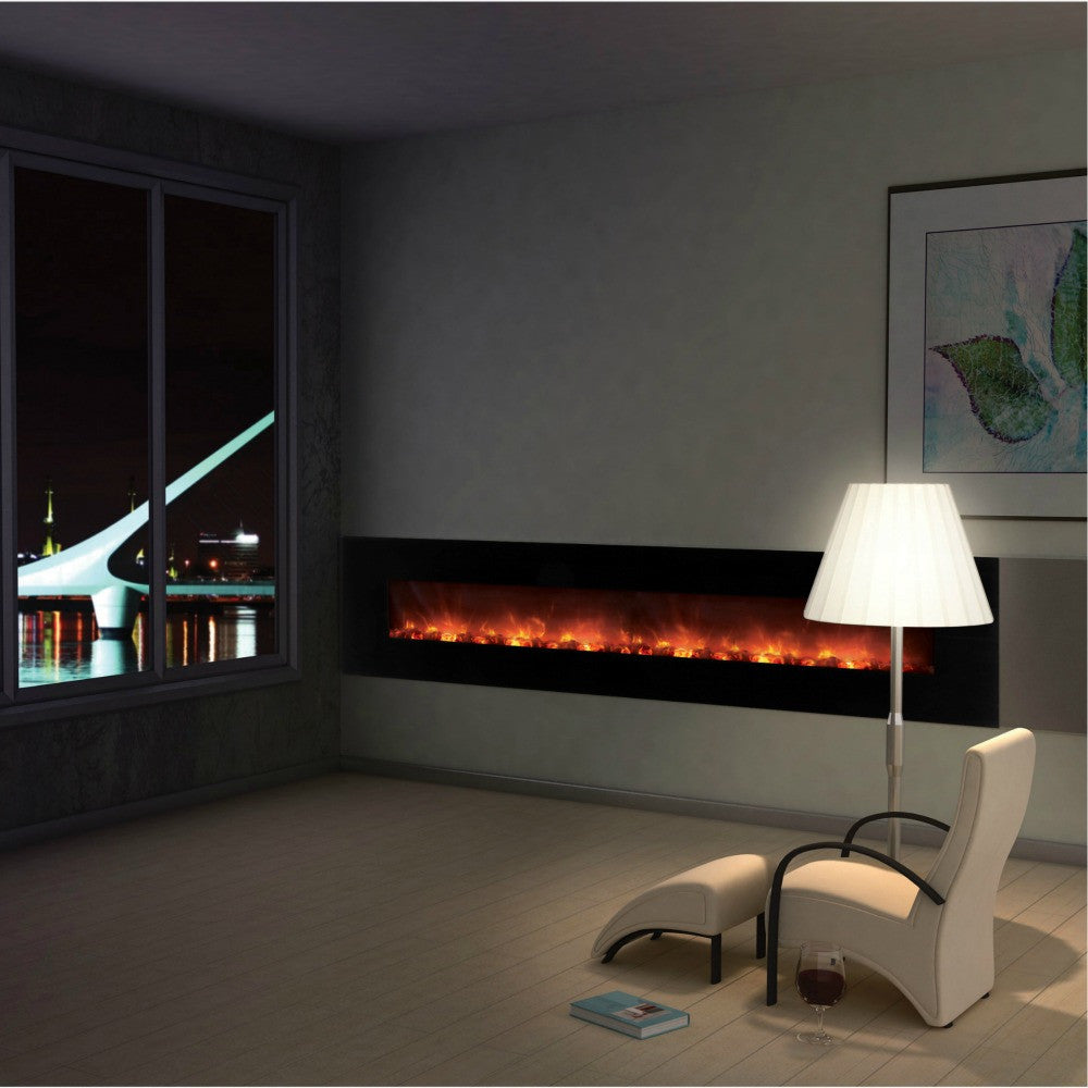 "Modern Flames 100"" Ambiance Wall Mounted Electric Fireplace (AL100CLX-G) - The Modern Fireplace"