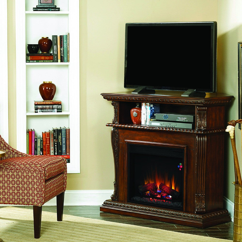 Classic Flame Corinth Electric Fireplace Mantel Burnished Walnut (23DE1447-W502)
