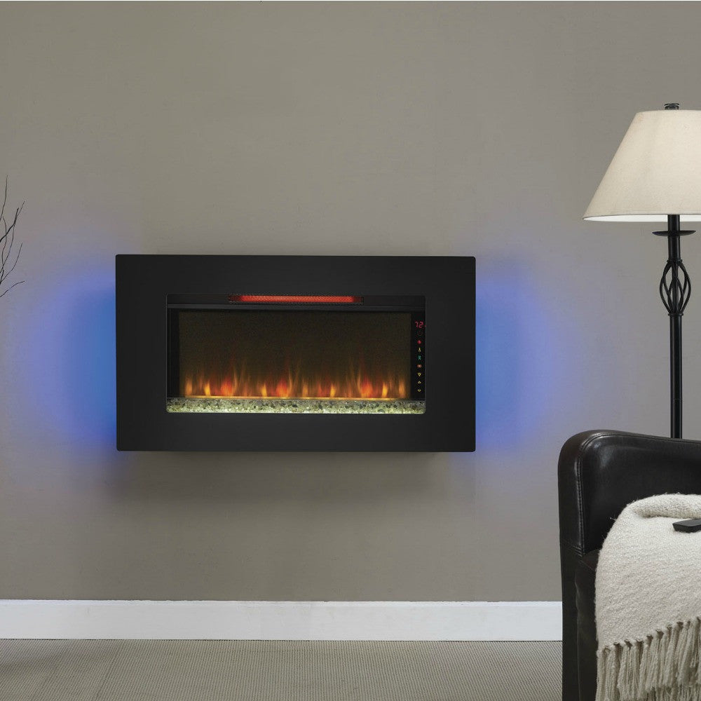 "The Modern Fireplace - ClassicFlame 36"" Elysium Infrared Wall Hanging Electric Fireplace 36II100GRG"