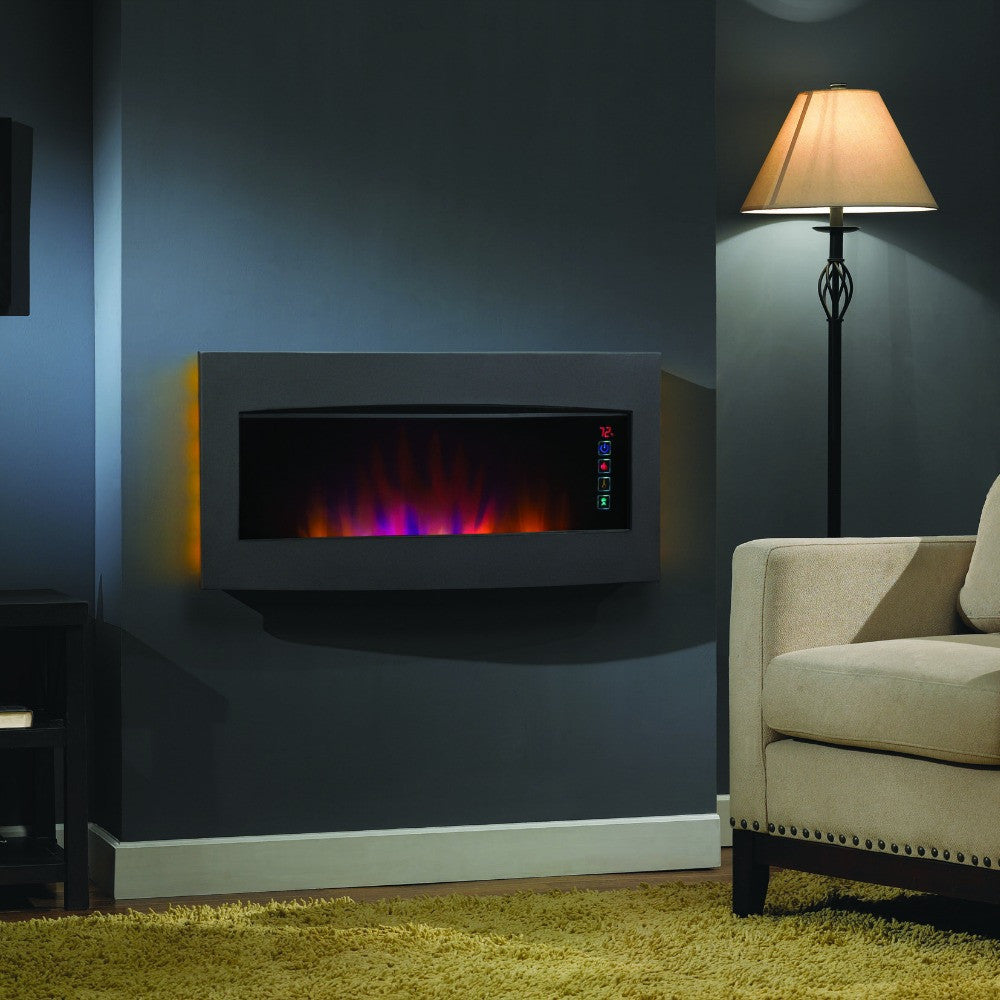 view p flame wall electric built quick in pebbles inch smokeless elite mounted fireplace fusion