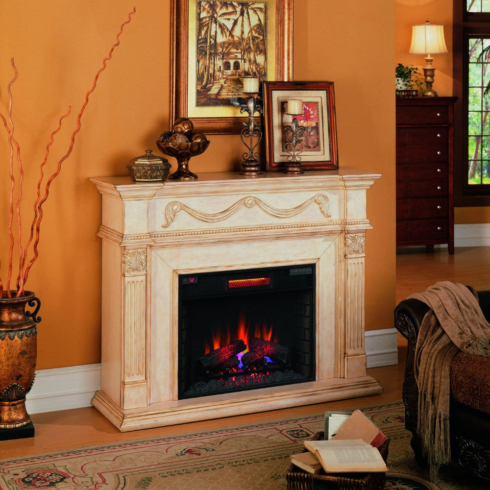 FREE SHIPPING @ The Modern Fireplace Features: Slotted molding around top of mantel Reverse breakfront design with classical style details Genuine hearth base.