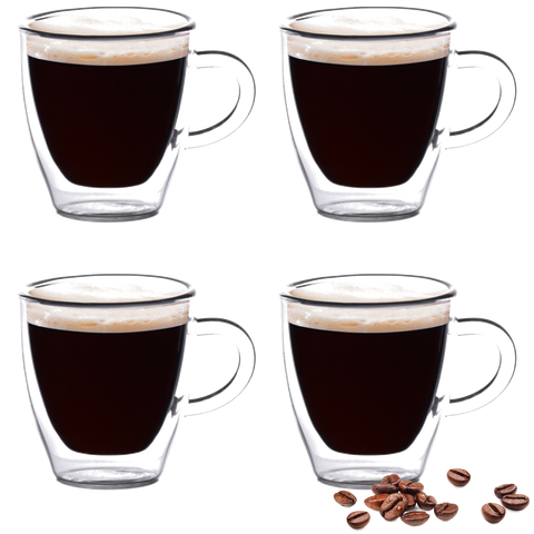 Eparé 2 oz Double Wall Espresso Cups (Set of 4) (Handle)