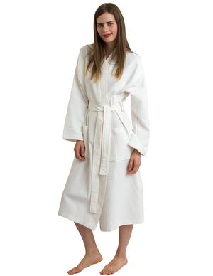 TowelSelections Women's Waffle Weave Robe Cotton Spa Bathrobe
