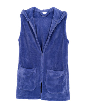 TowelSelections Women's Bed Jacket, Hooded Vest, Zip Front Cardigan Fleece Robe