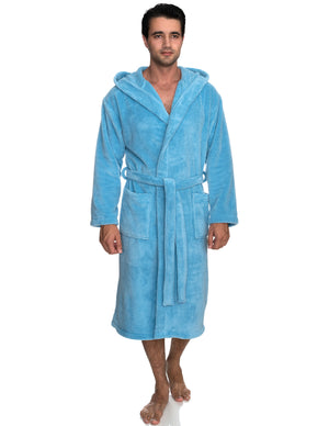 TowelSelections Men's Robe, Plush Fleece Hooded Spa Bathrobe