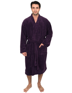 TowelSelections Men's Plush Spa Robe Fleece Kimono Bathrobe