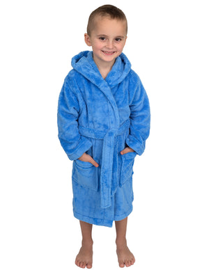 TowelSelections Boys Robe, Kids Plush Hooded Fleece Bathrobe