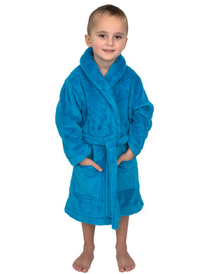 TowelSelections Boys Robe, Kids Plush Shawl Fleece Bathrobe