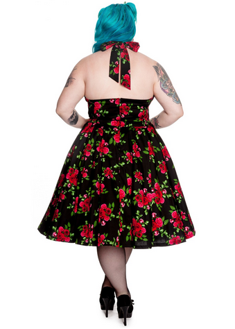 Cannes 50s Dress | Rose | Black | 4XL