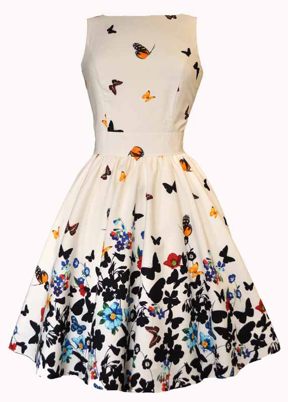 Tea Dress | Butterfly Border | White | 18
