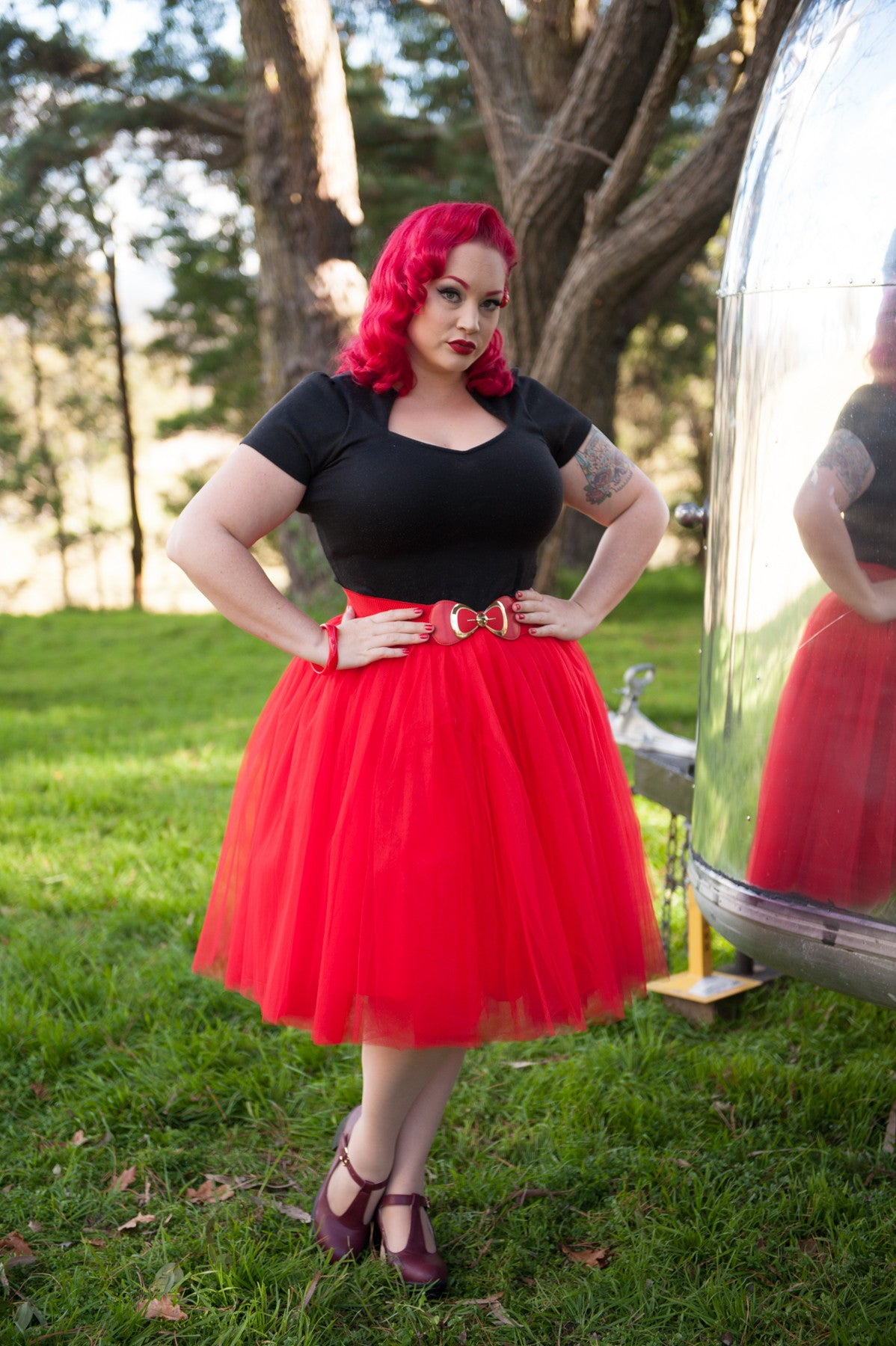 Nostalgia Now - Red Tutu featured with Pinup bow belt