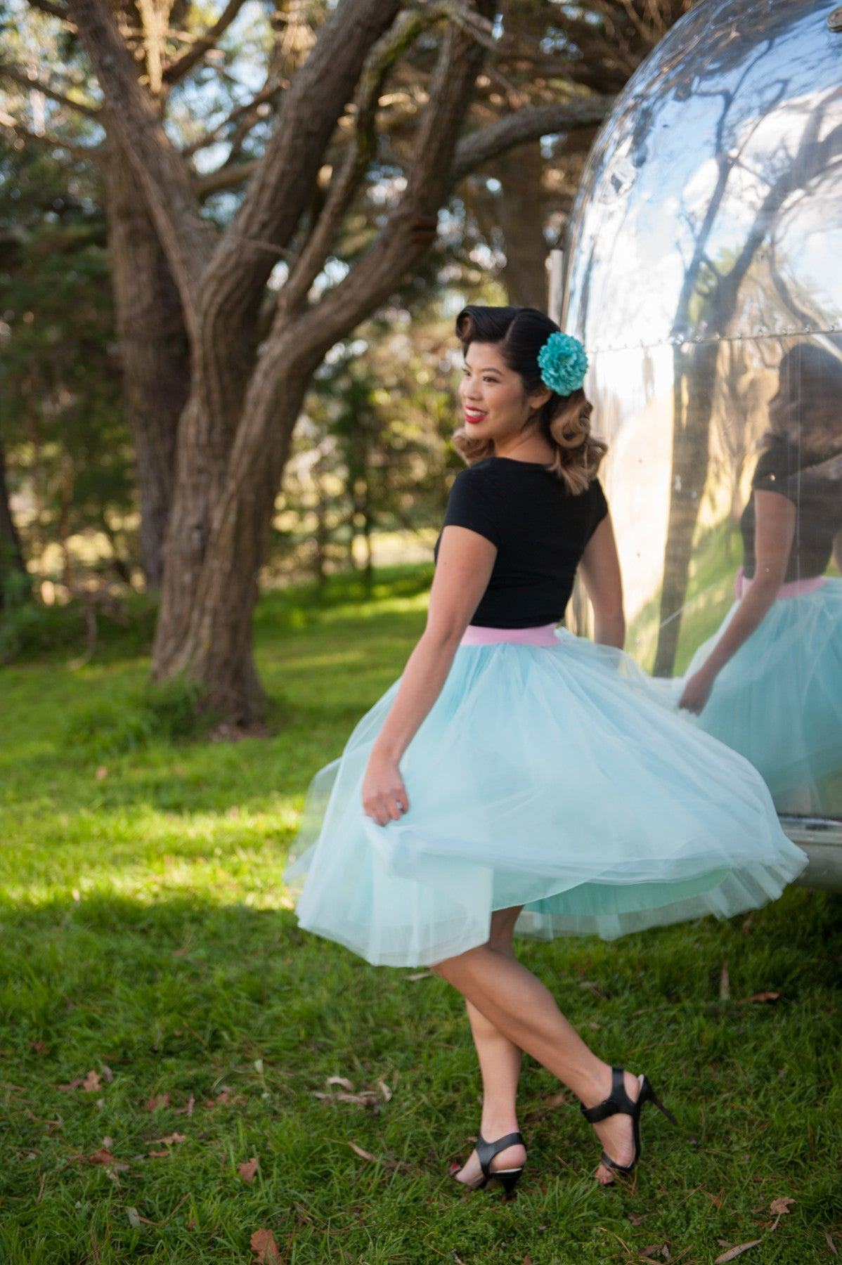 Nostalgia Now - Mint Tutu paired with Pink Bow Belt