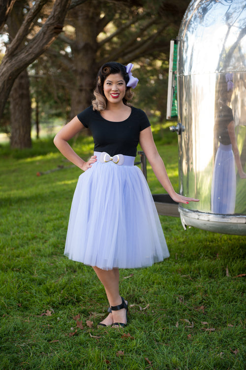 Pinup Bow Waist Belts: Purple